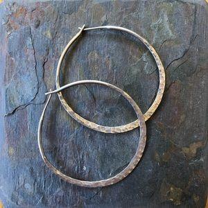 "2"" hammered sterling hoops!"